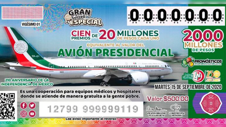 Andrés Manuel López Obrador Lotería Nacional sorteo avión presidencial